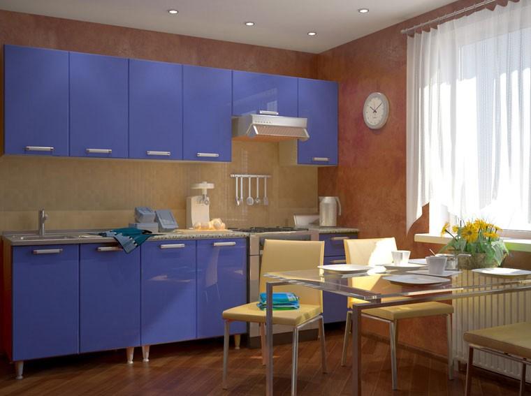 Фото дизайна кухни с синим гарнитуром