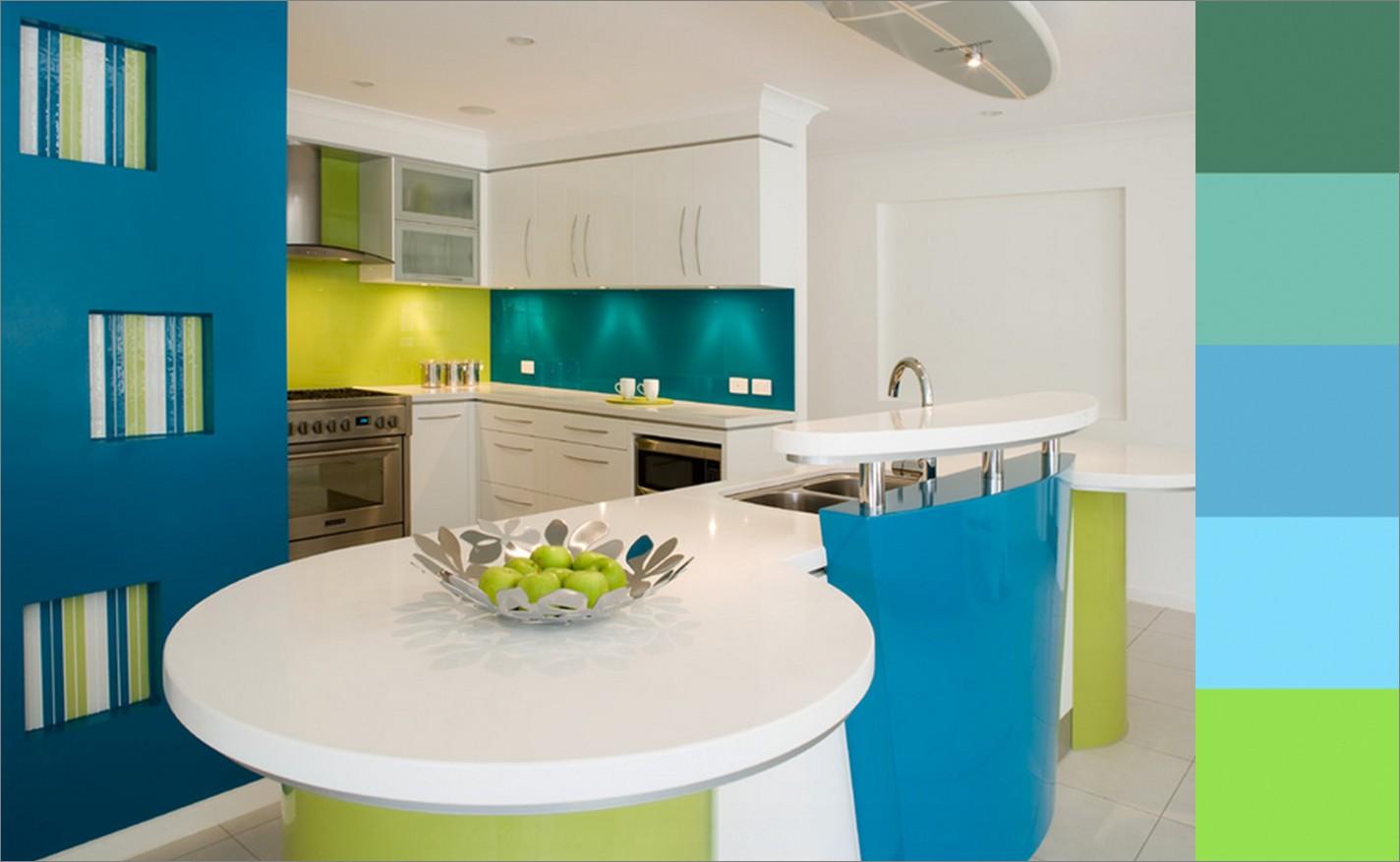 Сочетание цветов с бирюзовым в интерьере кухни фото
