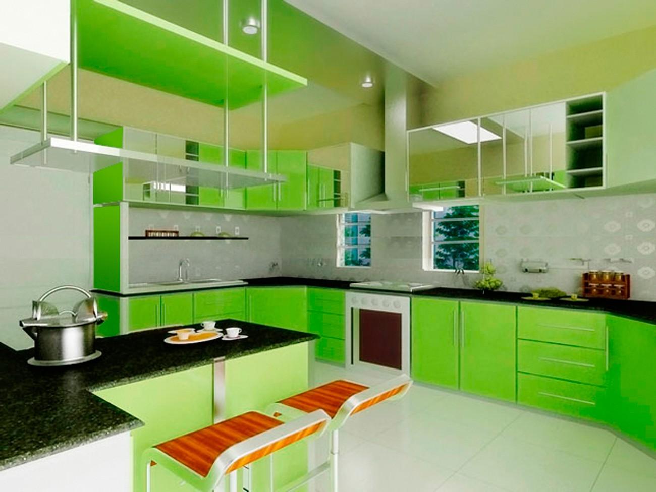 Фото интерьер зеленой кухни