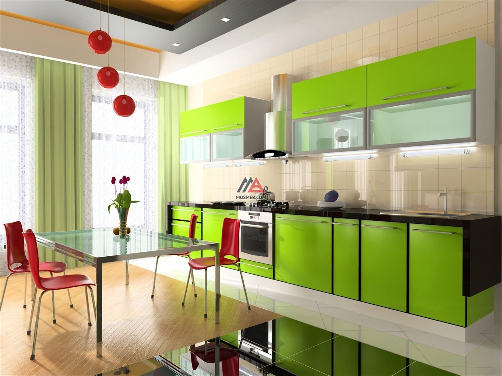 Фото интерьер кухни с зеленой мебелью