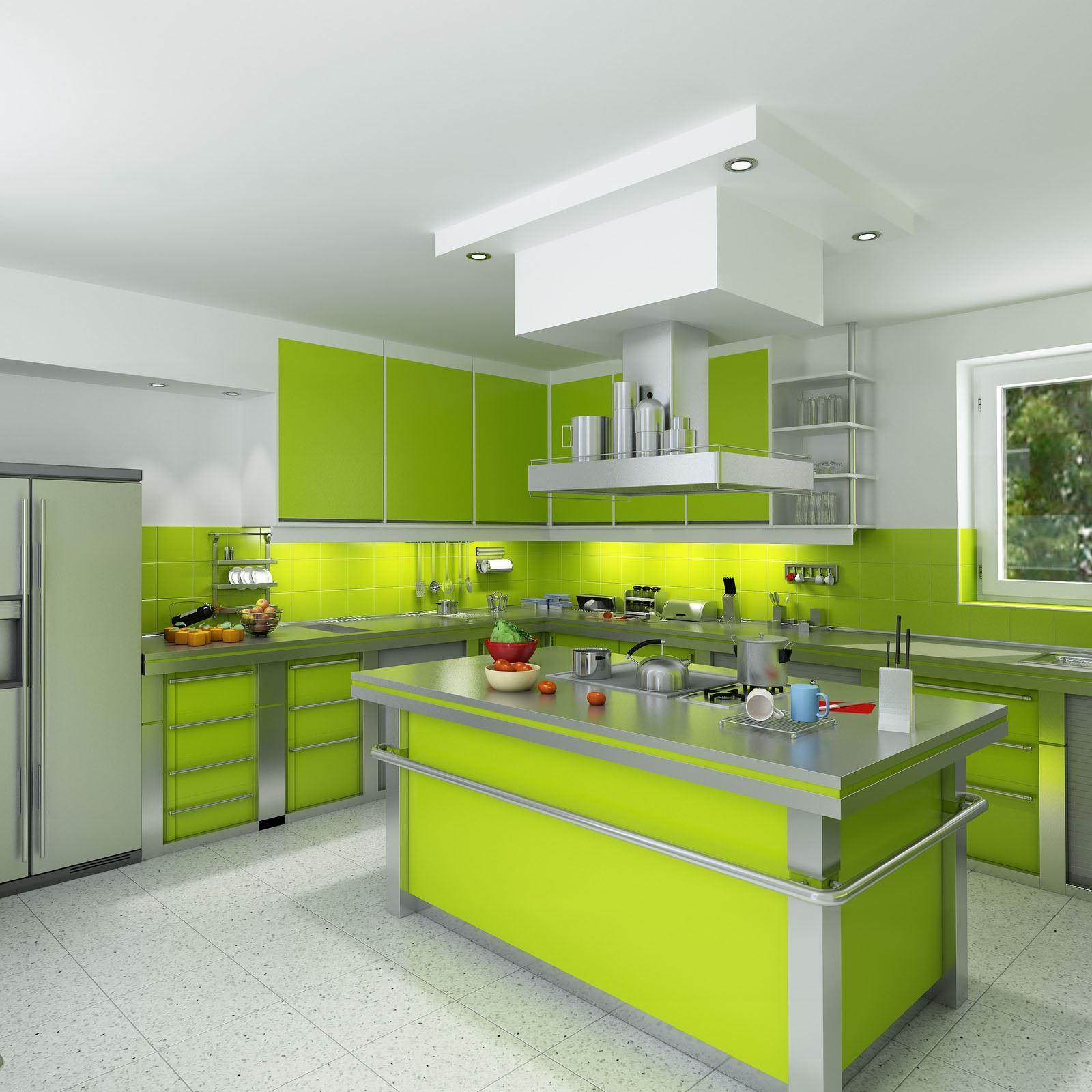 Дизайна кухни зеленого цвета