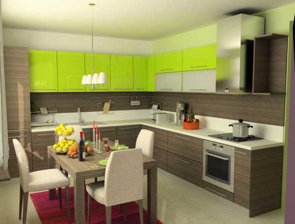 Кухня коричневого цвета с другими цветами