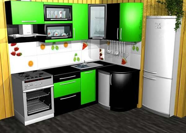Кухни угловые зеленые с черным