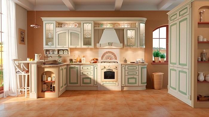 Кухня салатовая патина фото
