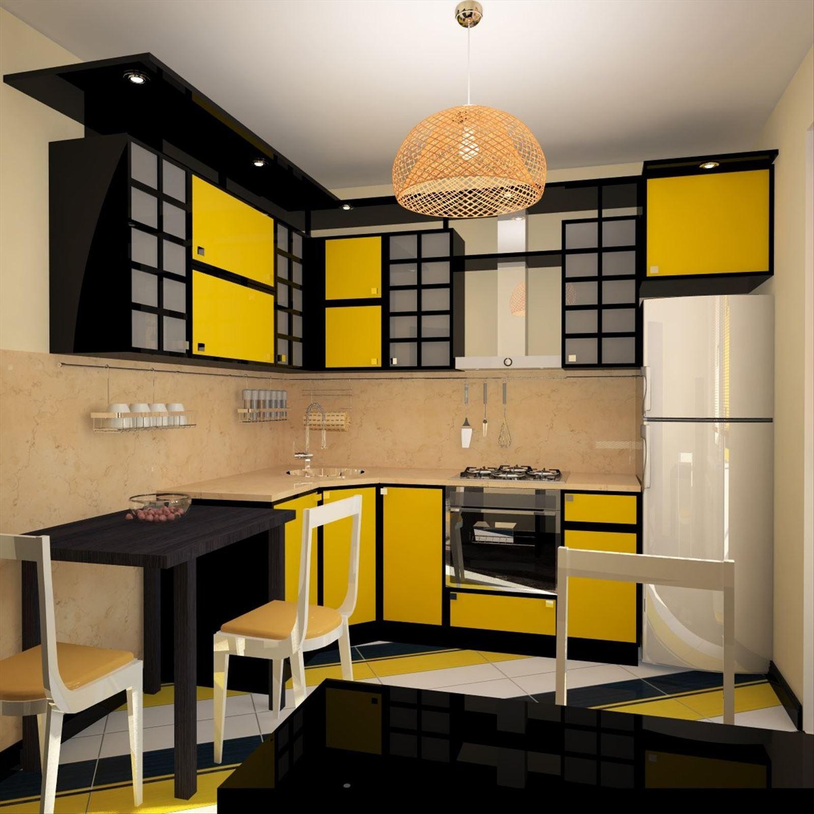 Дизайн кухни желтого цвета фото