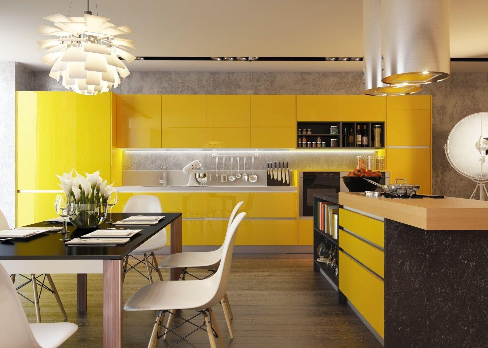 Дизайн кухни с желтыми стенами фото