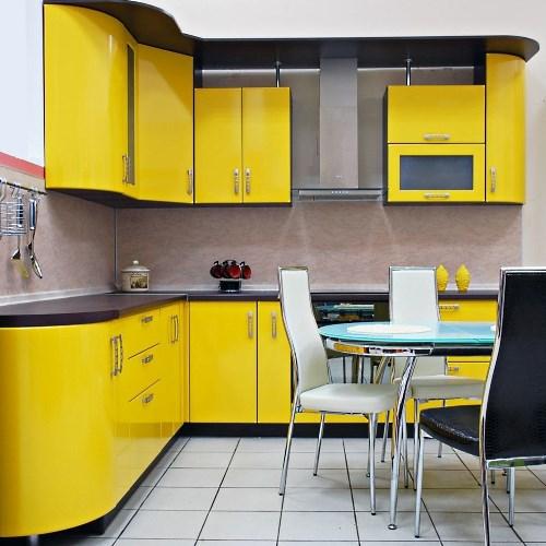 Кухни угловые желтого цвета фото