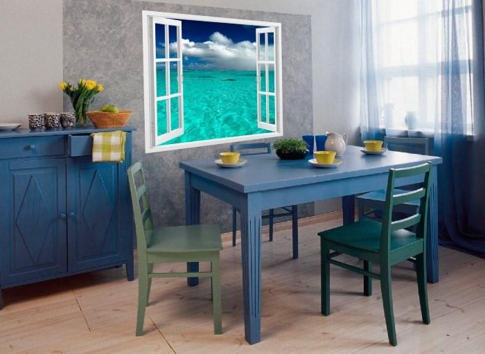 Фотообои на кухне: окно с видом на море