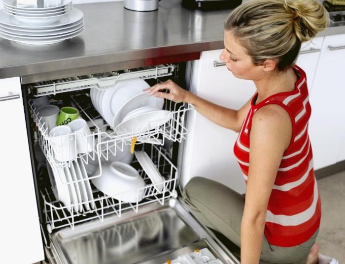 Закладка посуды в посудомойку