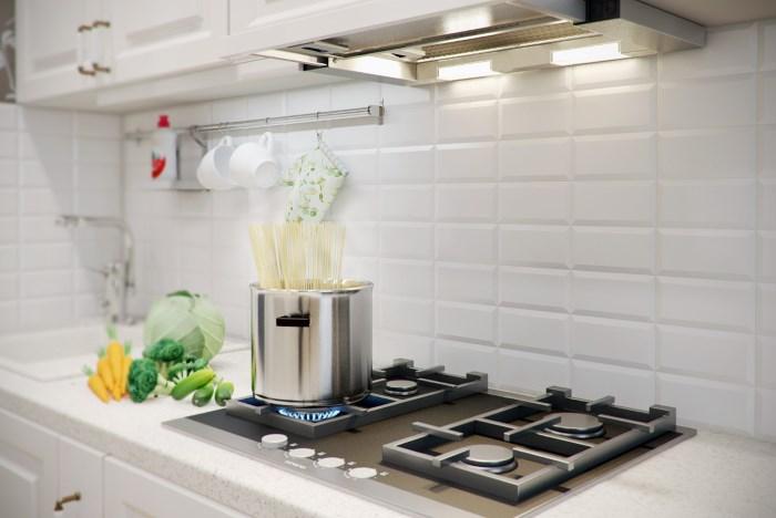 Встраиваемая вытяжка на кухне над плитой