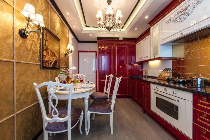 Красно-белая кухня 12 кв м