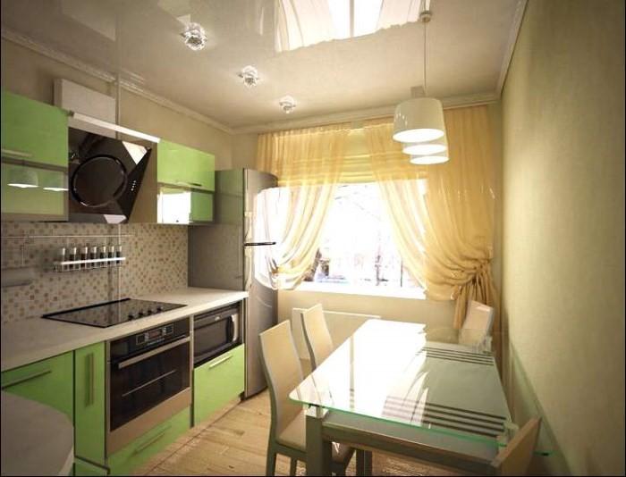 Линейная планировка кухни 12 кв