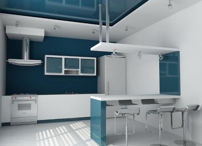 Высокие стулья на кухне в стиле хай-тек