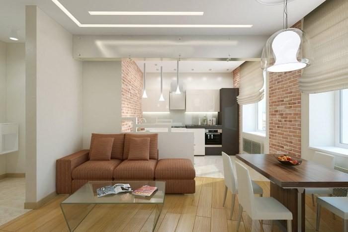 Зонирование кухни и гостиной диваном