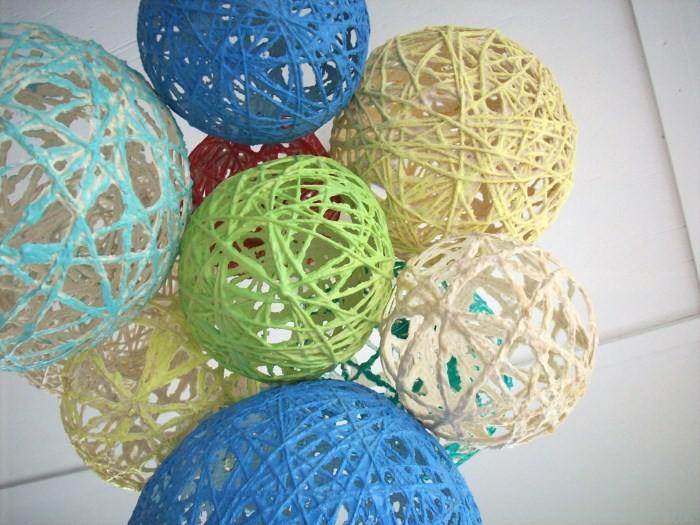 Плафон из шариков и ниток своими руками 921