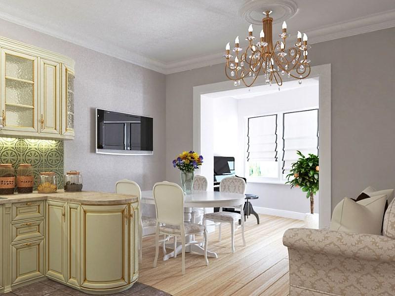 Вариант дизайна кухни гостиной площадью 20 кв м
