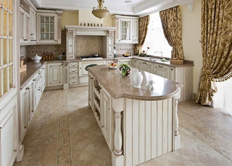 классические шторы для кухни