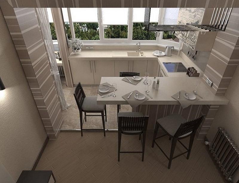 Рабочая зона кухни на балконе