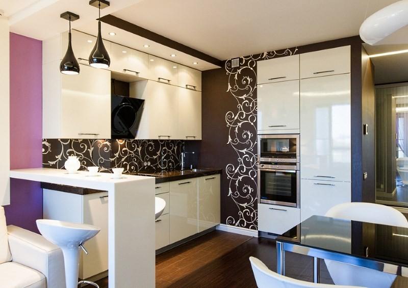Разделение зон на кухне гостиной
