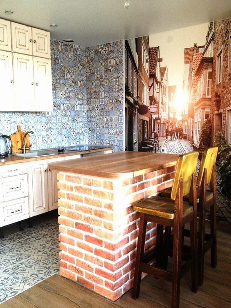 Барные стойки из кирпича для кухни
