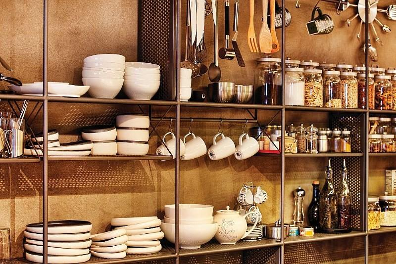 стеллаж для посуды в стиле лофт