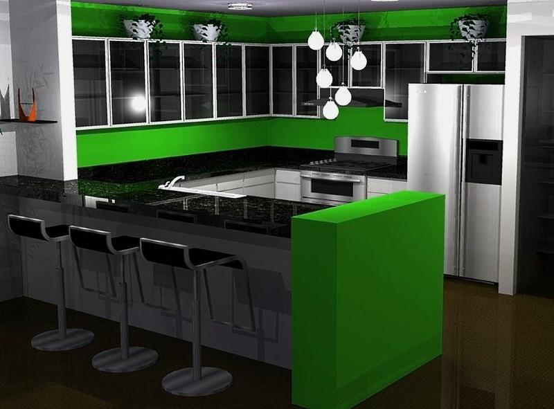 Салатовая кухня с черной столешницей