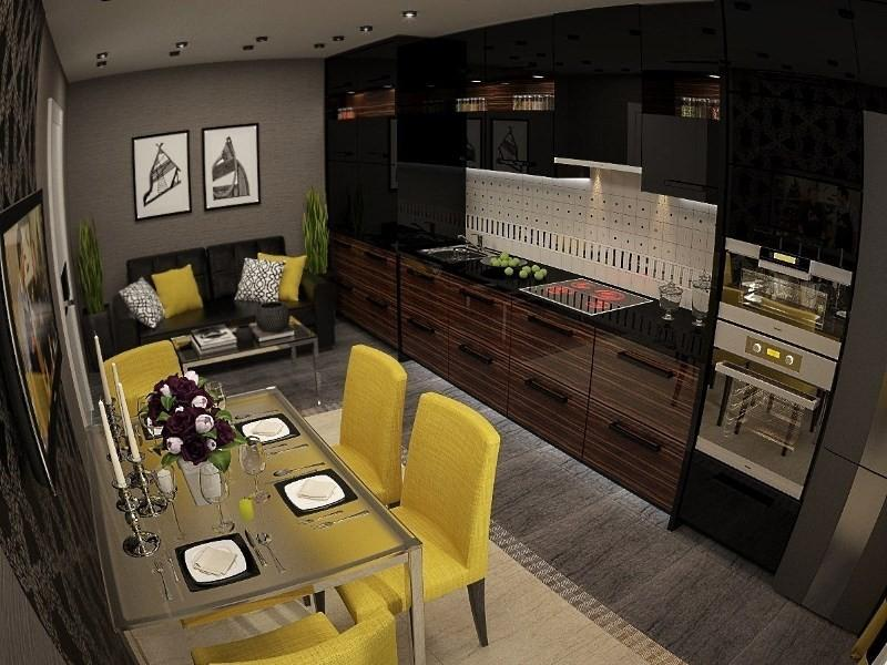 3Д дизайн кухни 15 кв метров