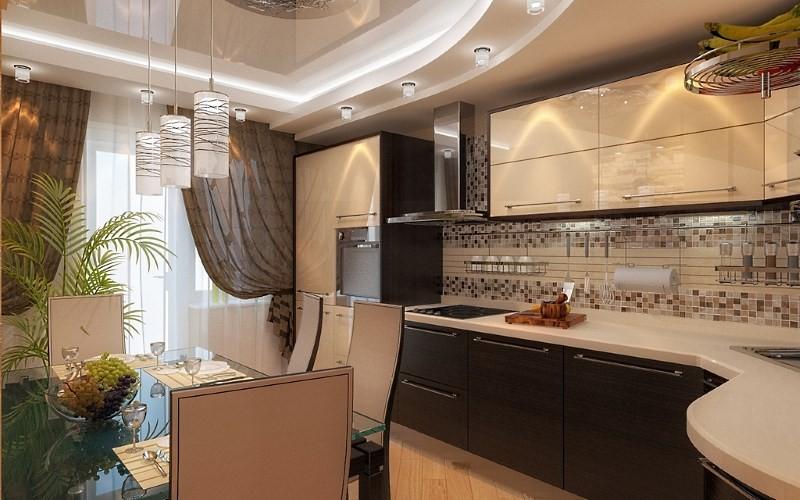 Дизайн кухни 15 метров с натяжным потолком