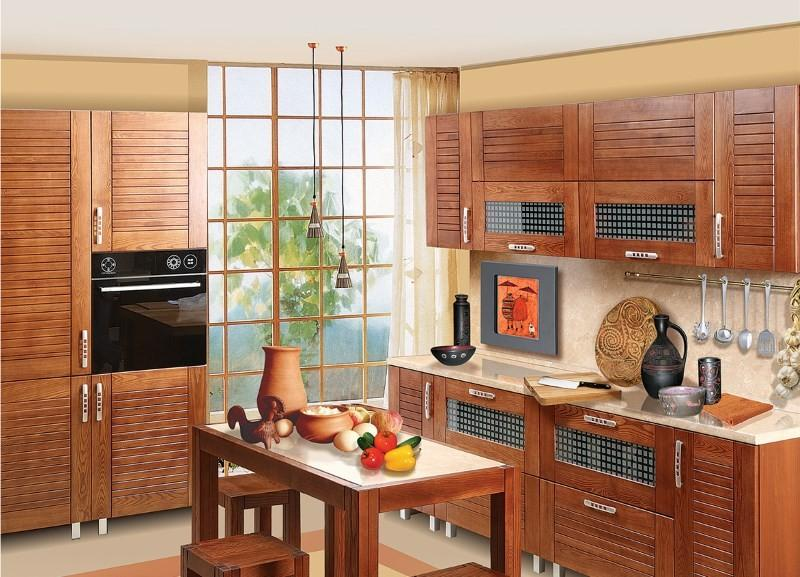 Фасады из массива в интерьере кухни