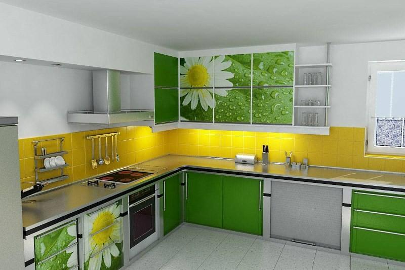 Яркие цвета фасадов кухни