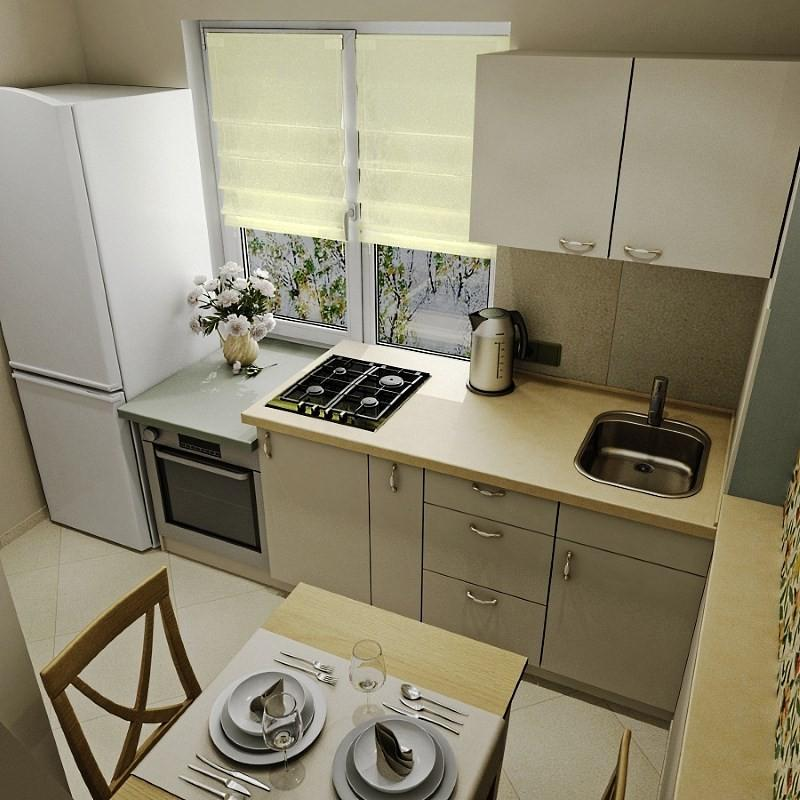 Размещение техники на кухне 6 метров
