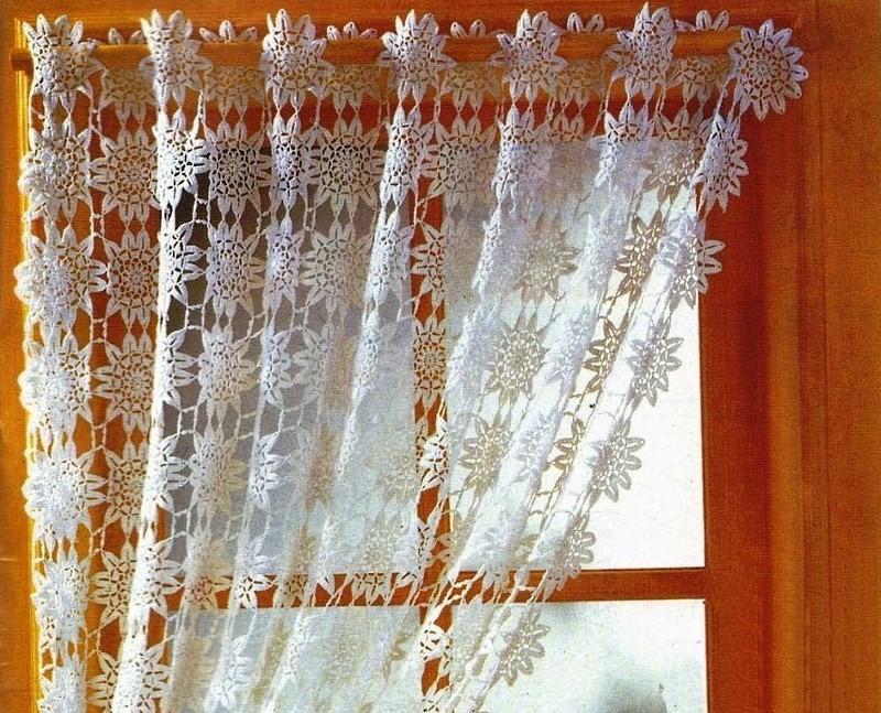Вязание шторы на кухню