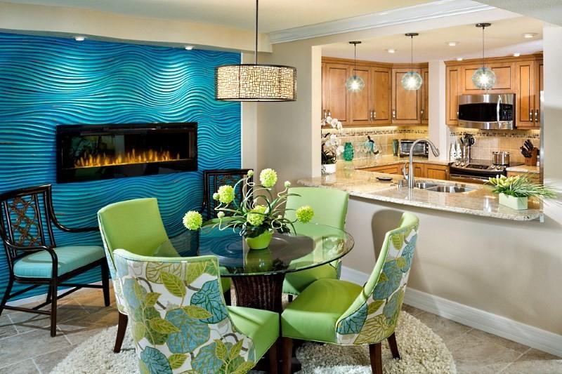 синие 3д панели на кухне