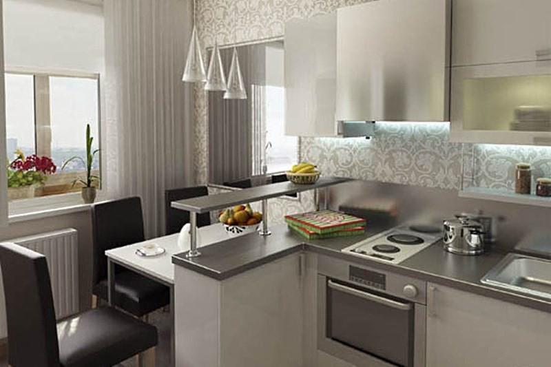 кухня 10 кв метров с барной стойкой