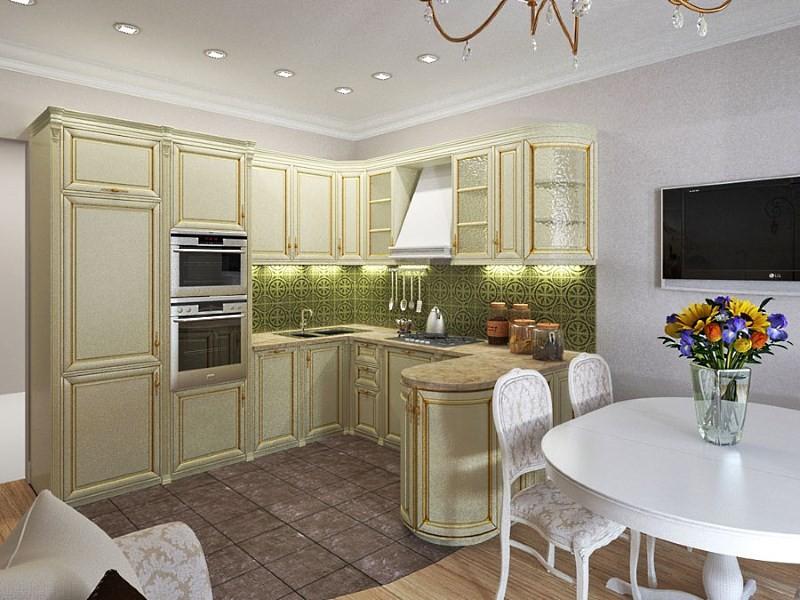 кухня 11 кв м в классическом стиле