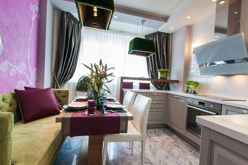 кухня 14 квадратов с диваном