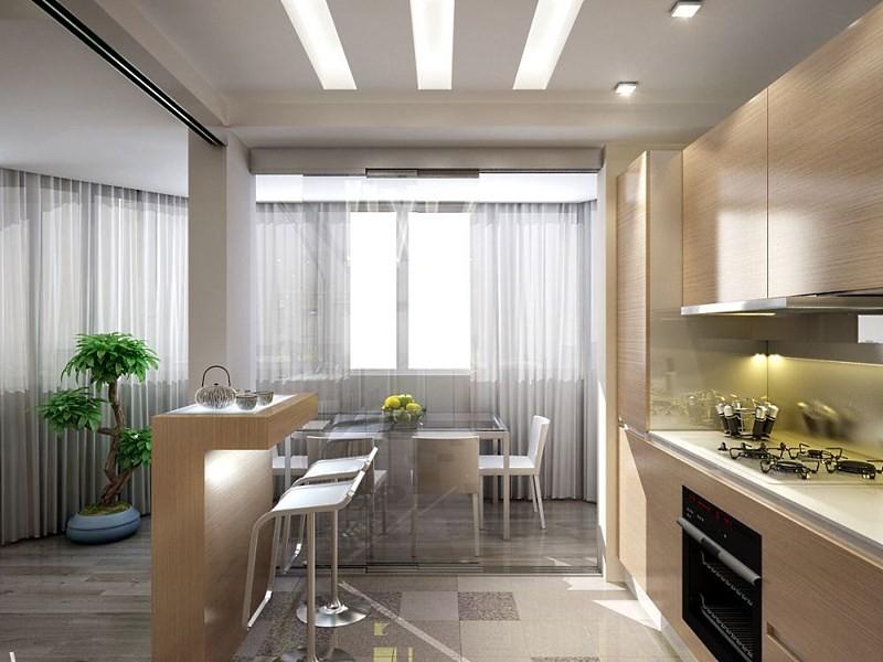 пример зонирования в кухне гостиной