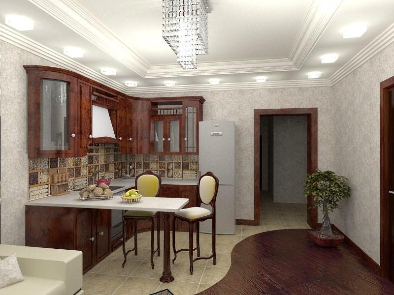 зонирование кухни плиткой и ламинатом