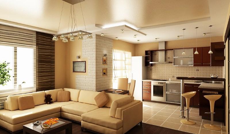 зонирование пола на кухне плиткой и ламинатом