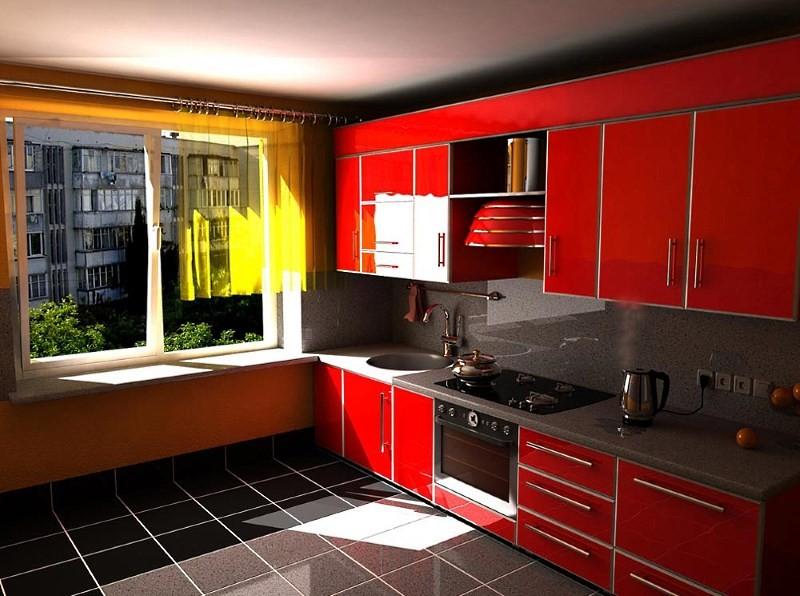 кухня 10 кв м черный пол красный гарнитур