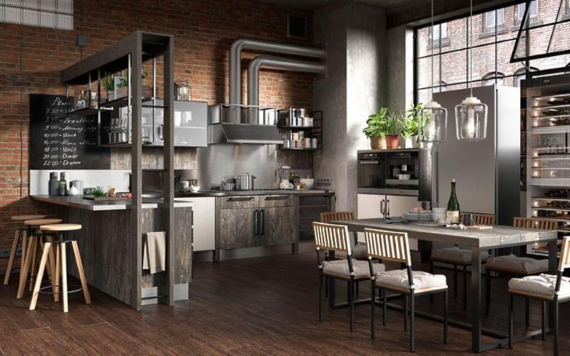 дорогая кухня в стиле лофт