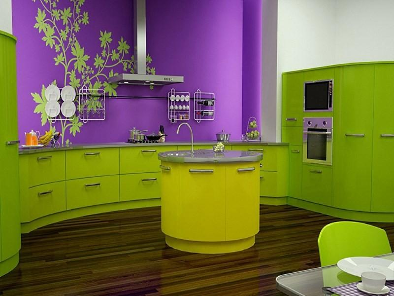 фиолетовая с зеленым кухня