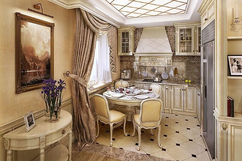 классические занавески для кухни