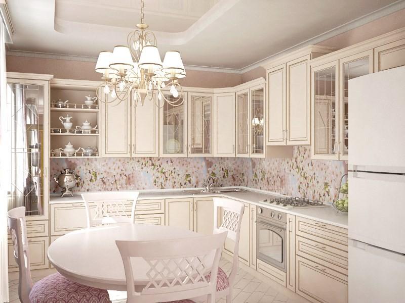Нежный фартук для белой кухни