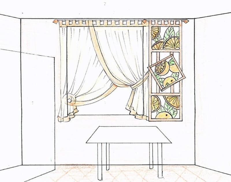 эскиз тюлевых штор