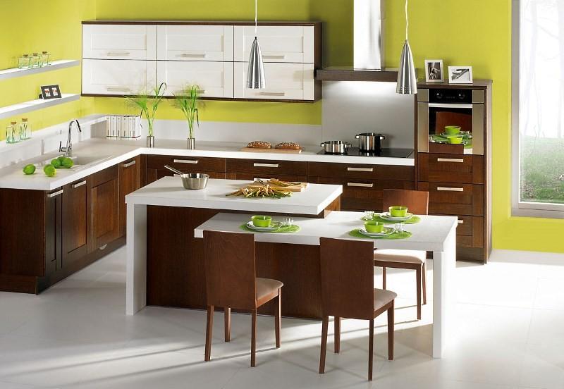 Кухня венге с зеленым