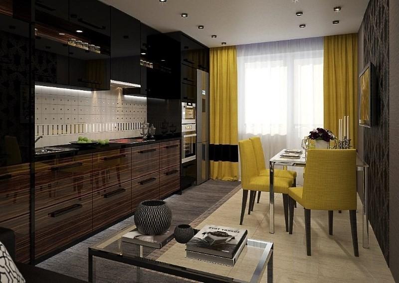 линейная планировка 17 метровой кухни гостиной