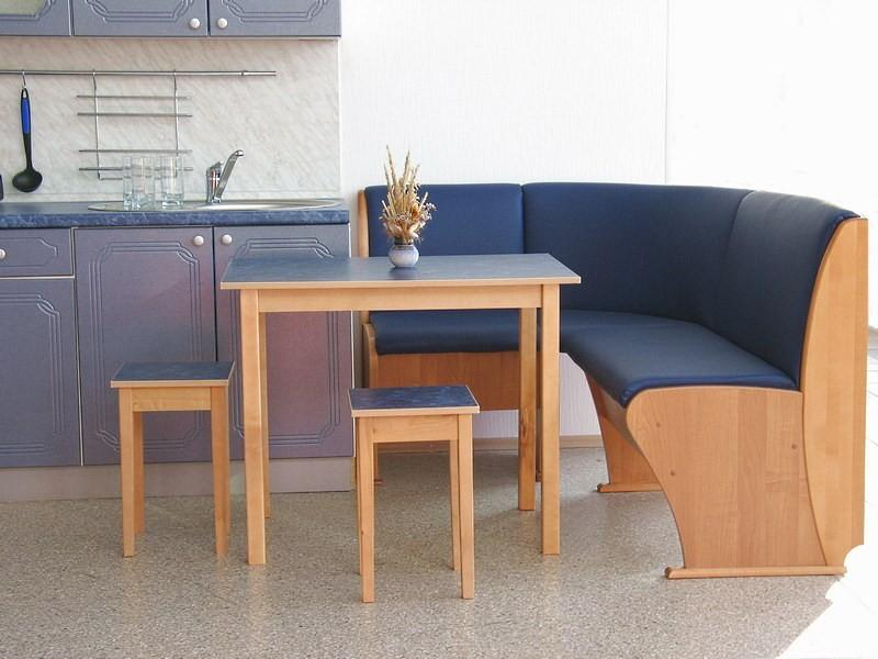 мягкий кухонный уголок синего цвета