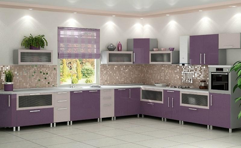 Дизайн сиреневой кухни