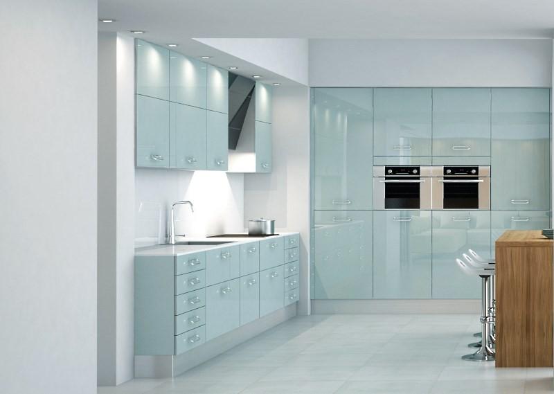 Каленое стекло на кухне